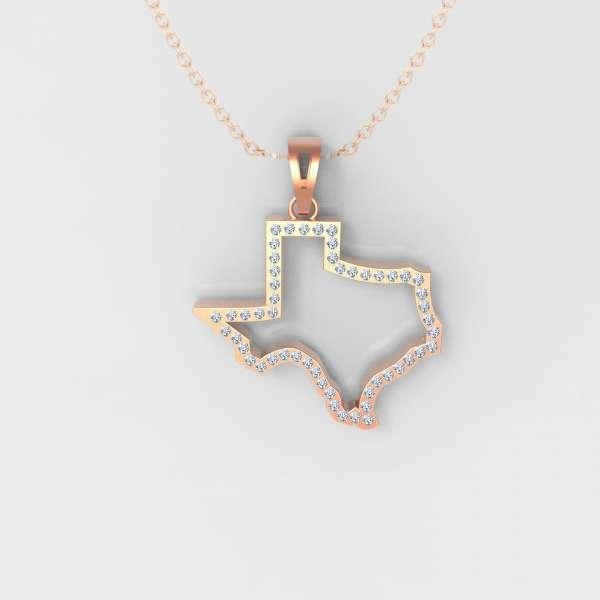 Texas Diamond Hollow Map pendant